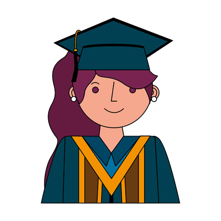 young woman graduated avatar character vector illustration design