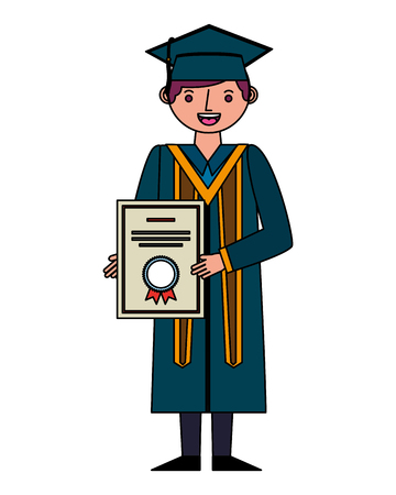 young man graduated with diploma avatar character vector illustration design