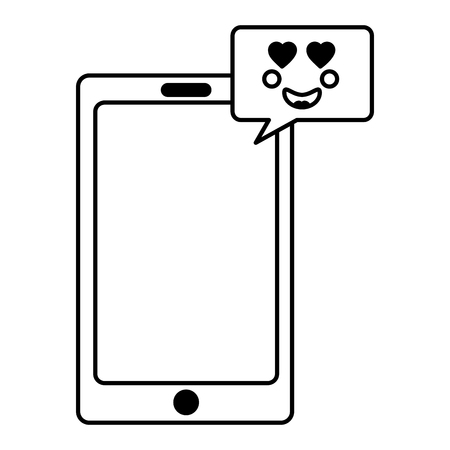 smartphone and speech bubble kawaii love face vector illustration