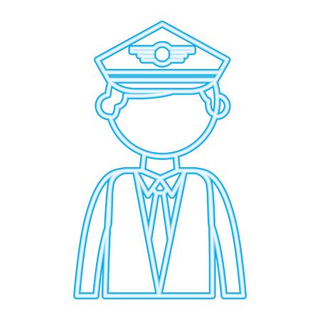 pilot portrait character neon design vector illustration