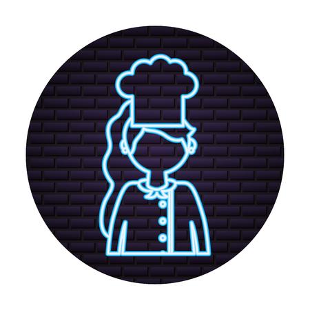 female chef neon on brick wall vector illustration