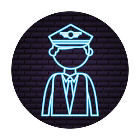 pilot neon on brick wall vector illustration