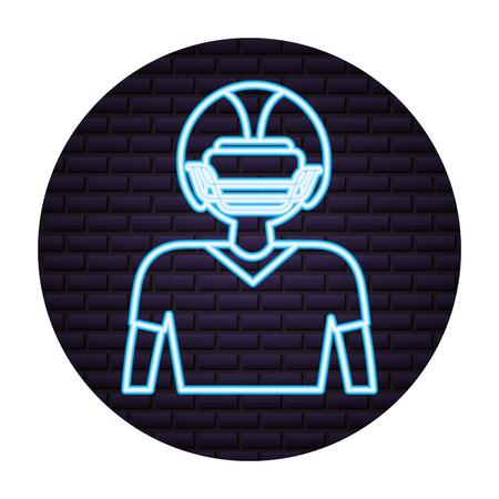 football player neon on brick wall vector illustration