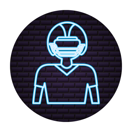 football player neon on brick wall vector illustration
