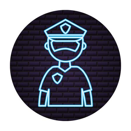 police man neon on brick wall vector illustration Illustration