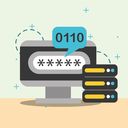 database center computer code binary vector illustration