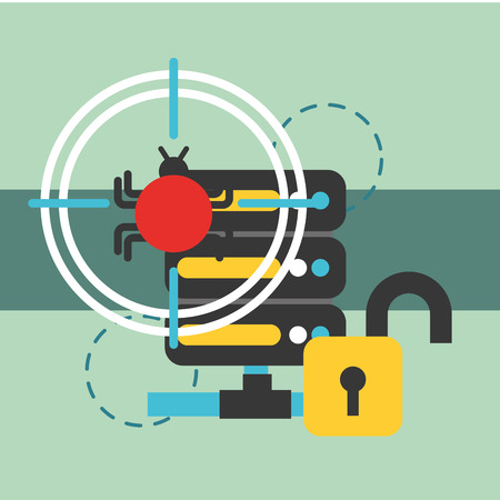 database server center security virus attack vector illustration Illustration