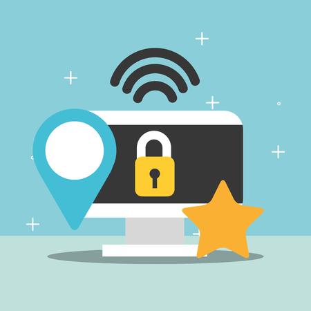 computer security internet location favorite vector illustration