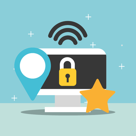 computer security internet location favorite vector illustration