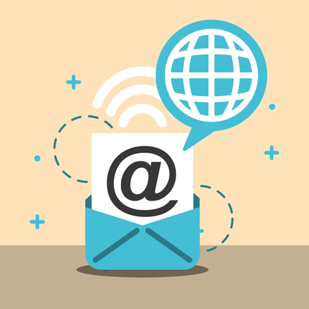 email world global internet wifi signal vector illustration