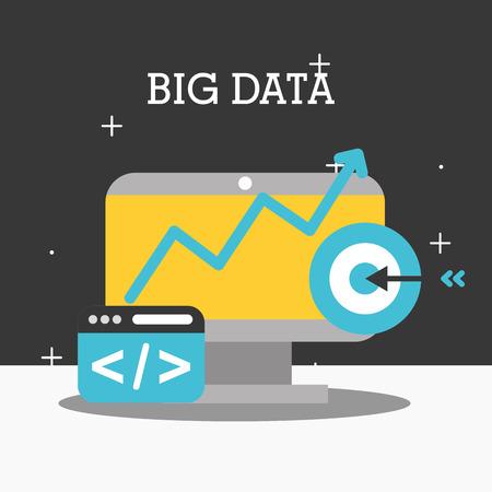 computer target code website big data big data vector illustration