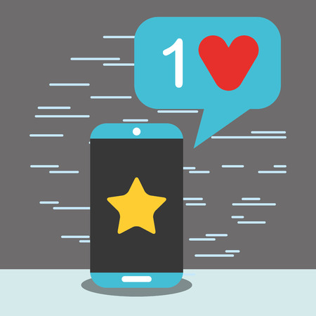 smartphone favorite like heart big data vector illustration