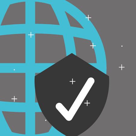 global shield check mark internet big data vector illustration