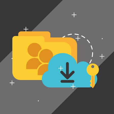 cloud computing storage upload key folder big data vector illustration