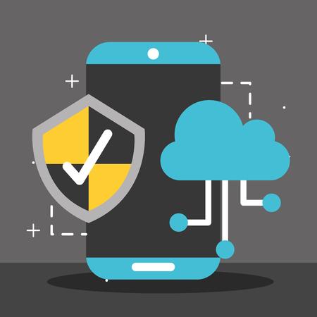 smartphone cloud computing shield check big data vector illustration