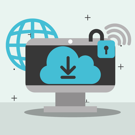 computer cloud computing storage security global wifi big data vector illustration 向量圖像
