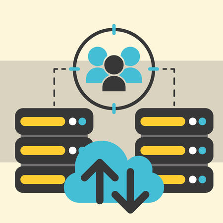 database server center cloud computing people connection big data vector illustration