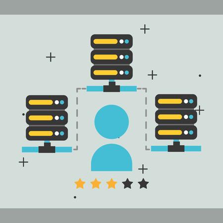 database center server people password big data vector illustration