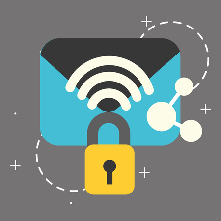 email security padlock sharing big data vector illustration