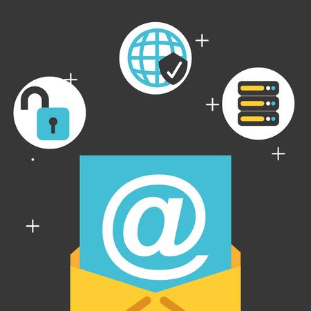 email database server security big data vector illustration Illustration
