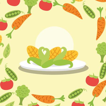 corn fresh vegetable on dish vector illustration