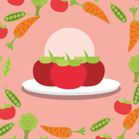 tomatoes fresh vegetable on dish vector illustration