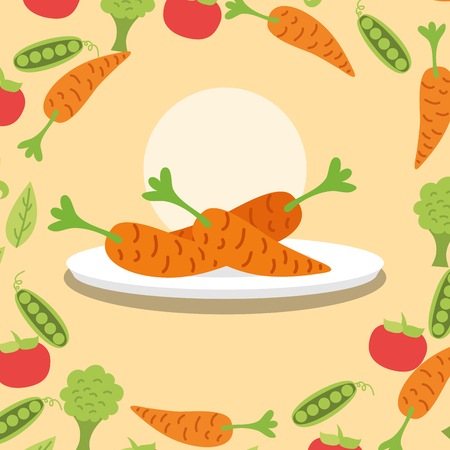 carrots fresh vegetable on dish vector illustration