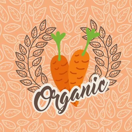 carrots food healthy organic emblem vector illustration