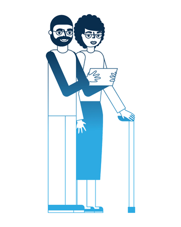 grandparents couple with tablet device and stick cane vector illustration
