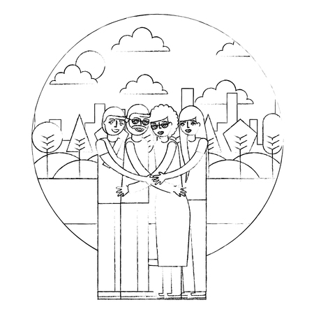 grandparents and mom dad hugging in the park vector illustration hand drawing