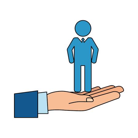 hand with man team work vector illustration design