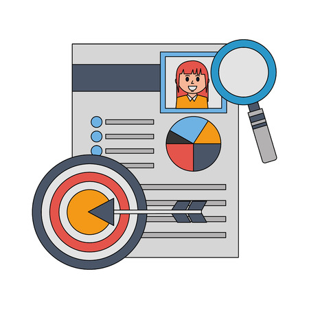 curriculum vitae with magnifying glass and target vector illustration design Illustration