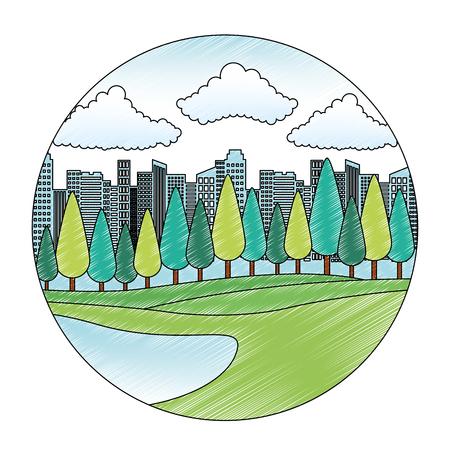 park scene isolated icon vector illustration design Archivio Fotografico - 112388223
