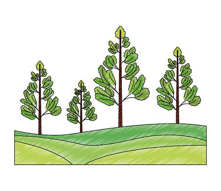 pine trees plants isolated icon vector illustration design Illustration