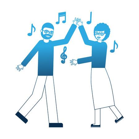 dancing grandpa and grandma happiness vector illustration