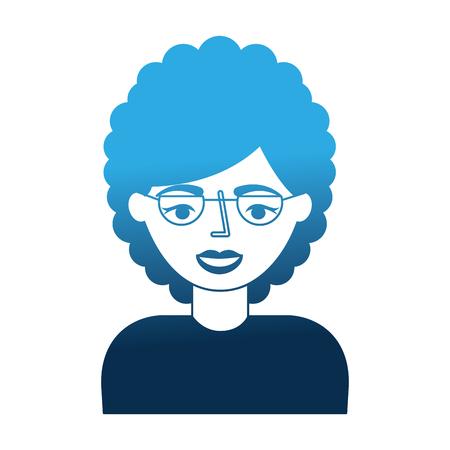 portrait elderly woman grandmother with glasses vector illustration