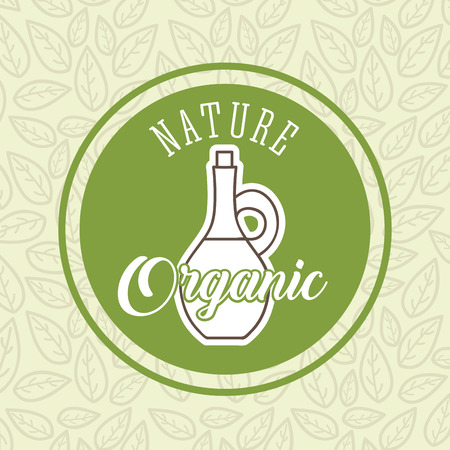 bottle olive oil nature organic label green vector illustration