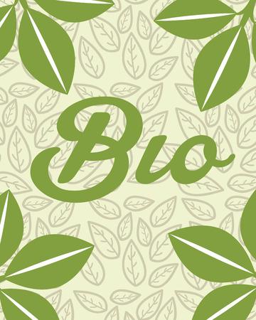 green leaves foliage nature bio card vector illustration Иллюстрация