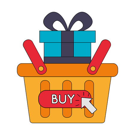 shopping basket market gift buy online vector illustration