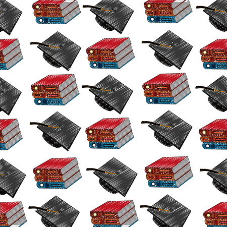 school books and graduation hat pattern vector illustration
