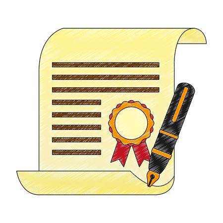 Certificado de graduación de la escuela y pluma estilográfica ilustración vectorial