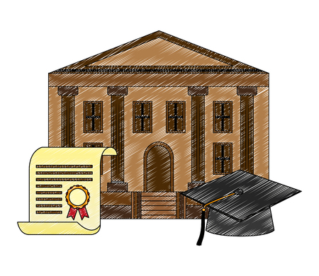 school building graduation hat and certificate vector illustration