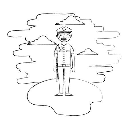 officer police character in landscape vector illustration design Illustration