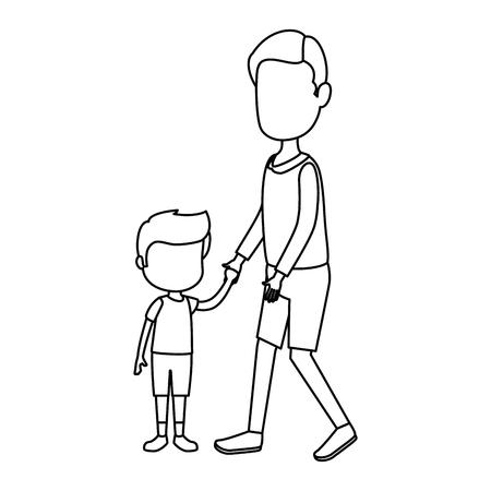 carino e ragazzino con il padre caratteri illustrazione vettoriale design