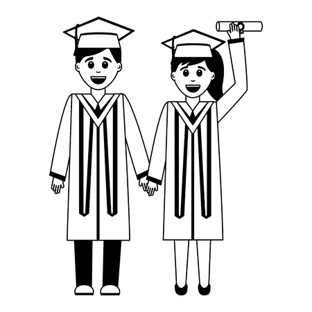 smiling graduate man and woman graduation dress vector illustration black and white Illustration