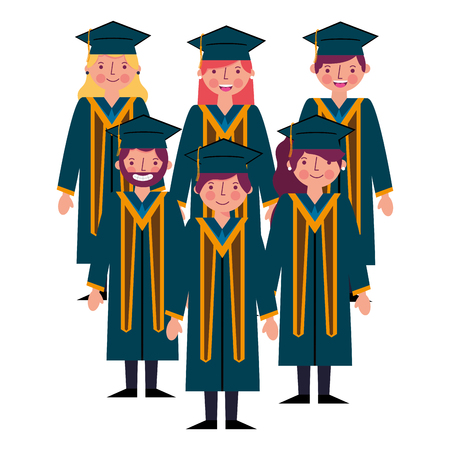 group happy smiling graduates in graduation gowns vector illustration Illustration