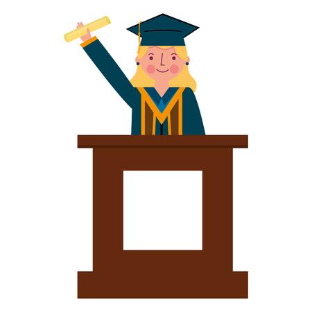 graduate woman in podium giving speech vector illustration