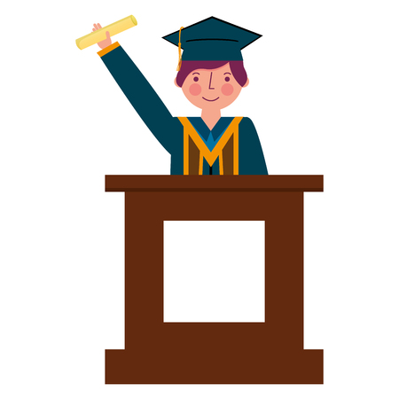 graduate man with diploma in the podium vector illustration