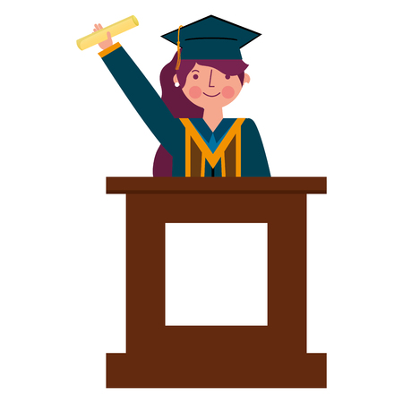 graduate woman in podium giving speech vector illustration
