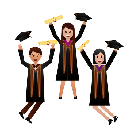 celebrating graduation people with certificate vector illustration